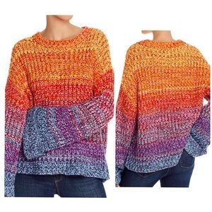 NWT Rainbow Color Cropped Oversized Knit Sweater